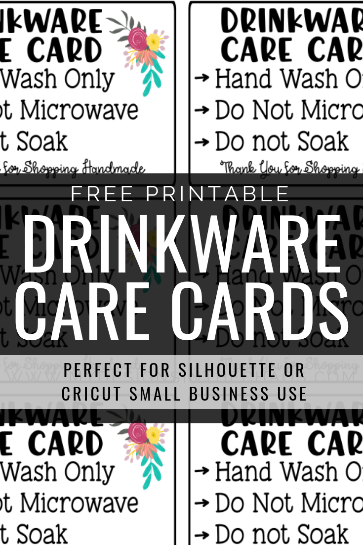 Printable Drinkware Care Cards My Designs In The Chaos