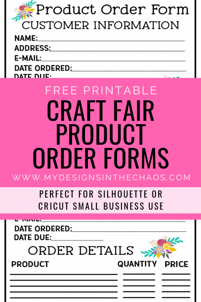 craft fair product order form