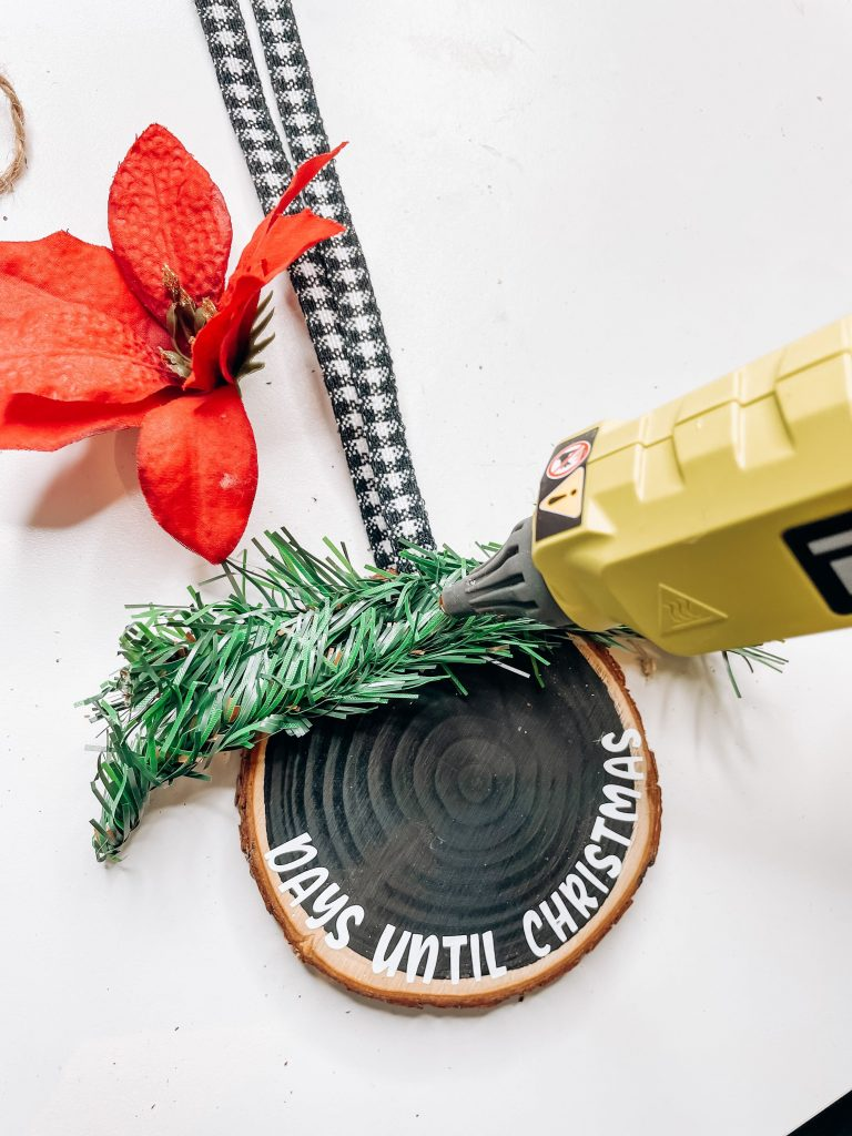wood slice christmas ornament finishing touches